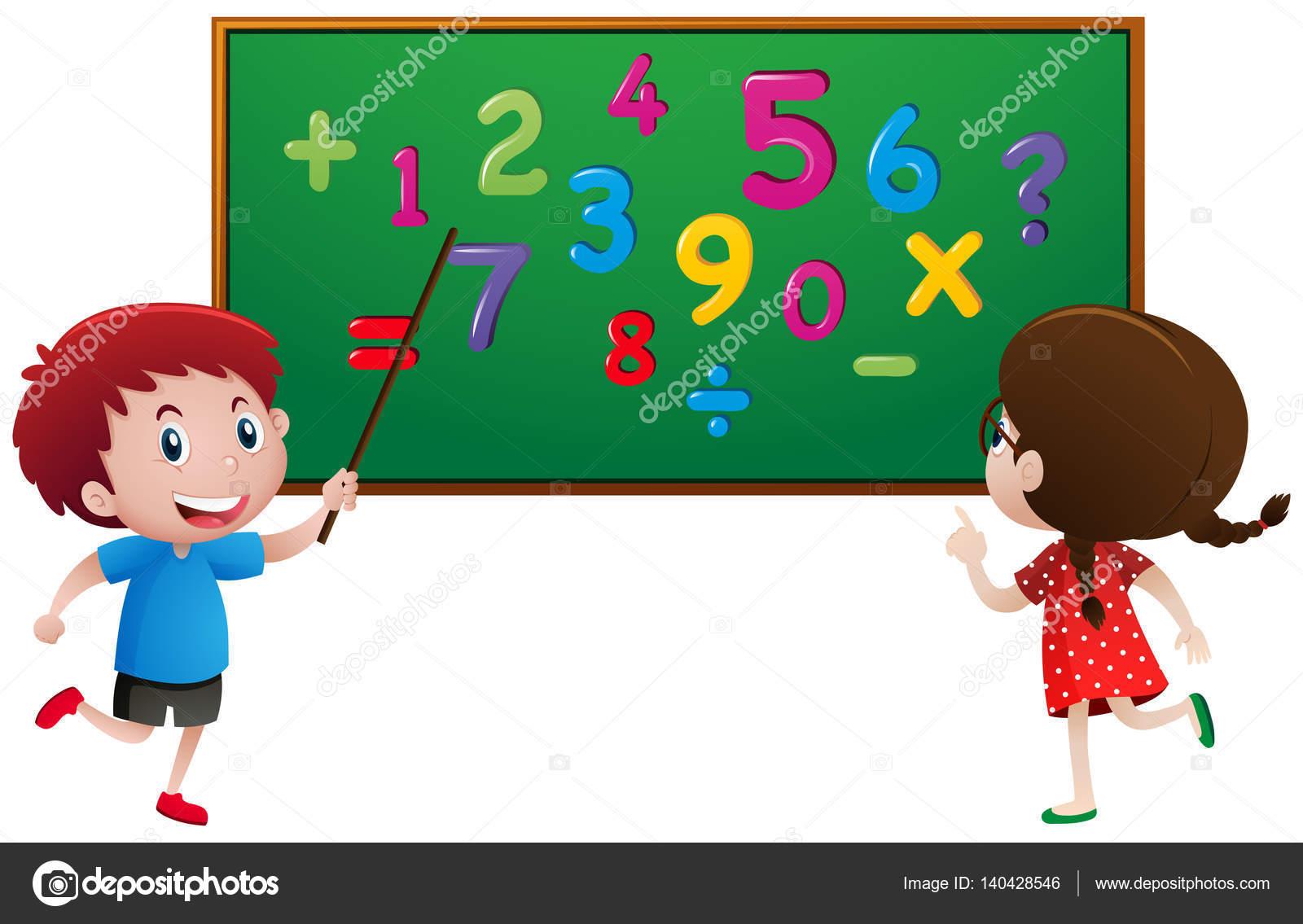 Niño Y Niña Cuenta Números En El Tablero