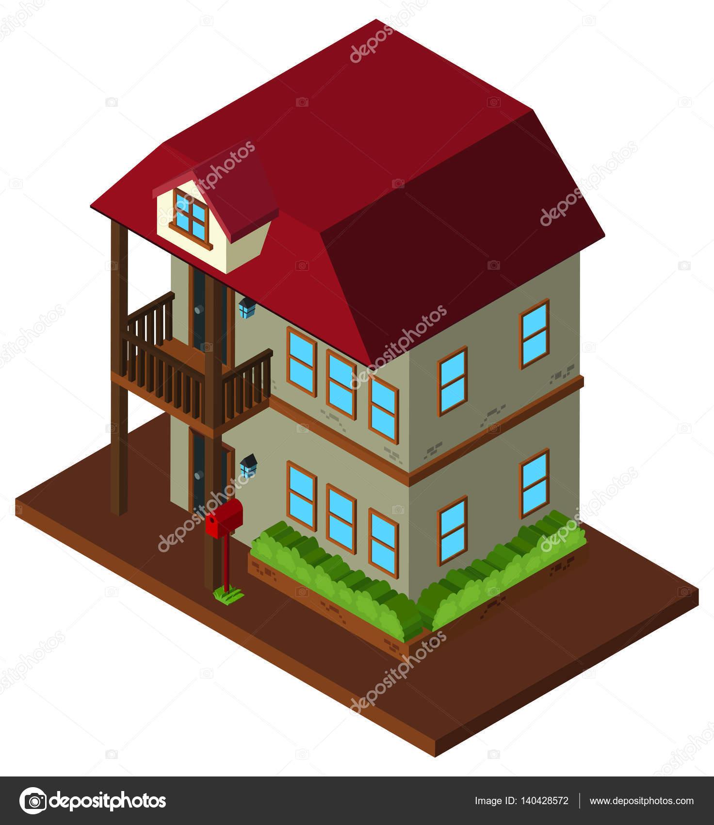 Dise o en 3d de casa de dos pisos vector de stock brgfx 140428572 - Diseno de casa en 3d ...