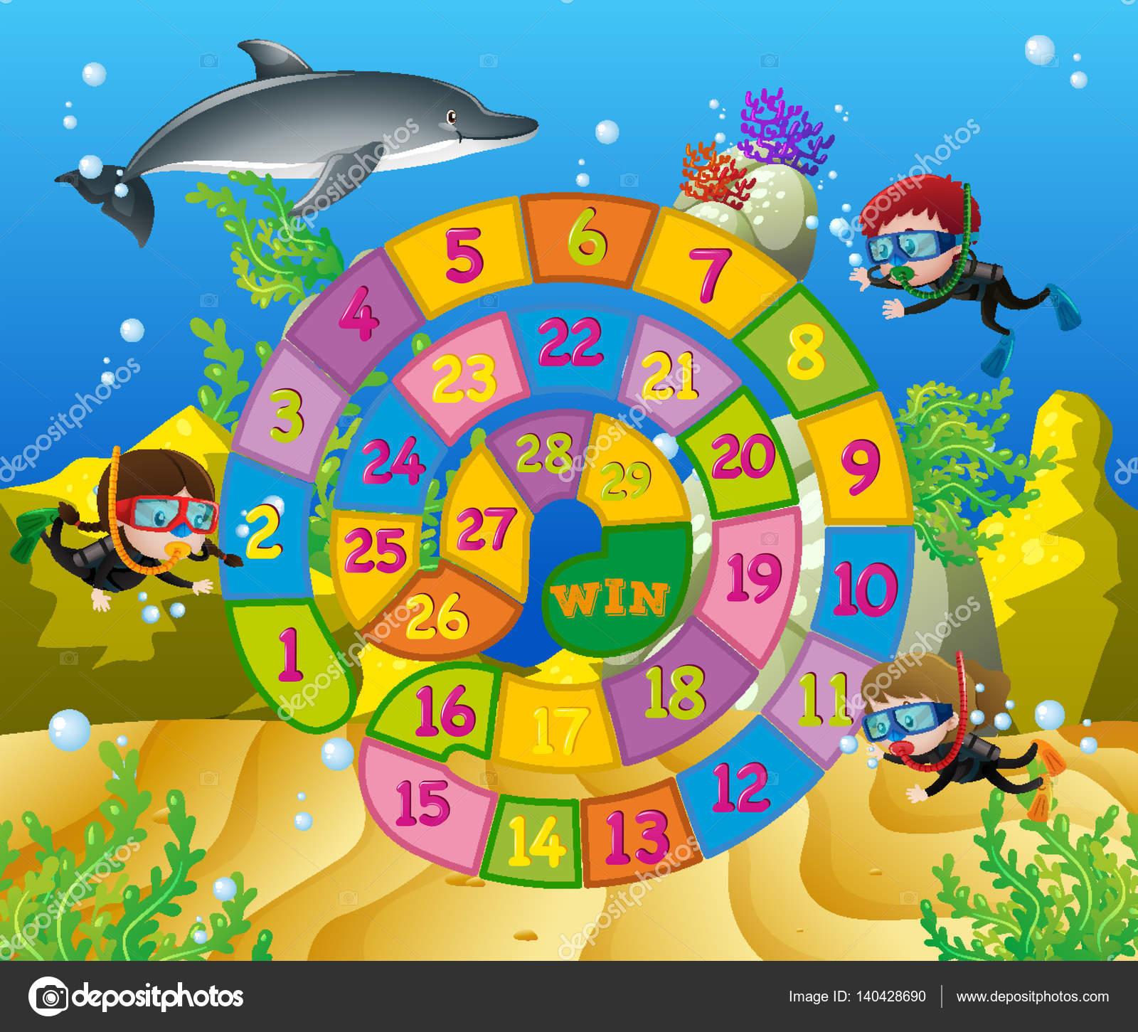 Brettspiel Vorlage mit Kindern unter Wasser — Stockvektor © brgfx ...