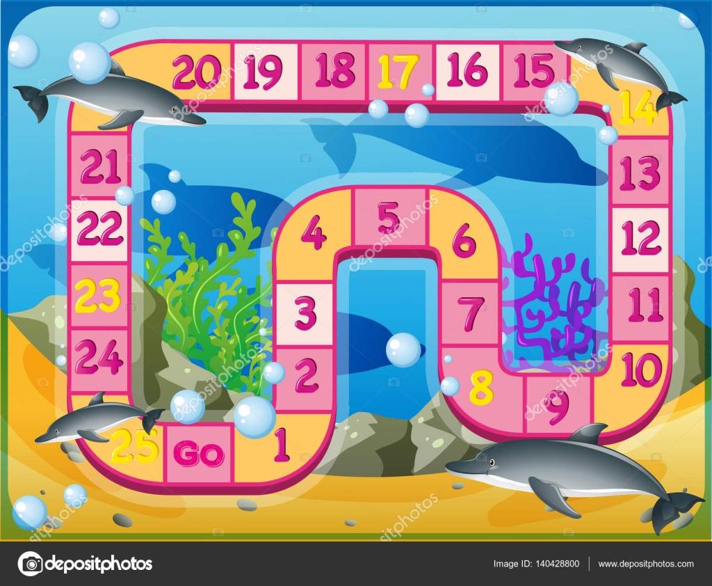 Brettspiel Vorlage mit Delfinen schwimmen unter Wasser — Stockvektor ...
