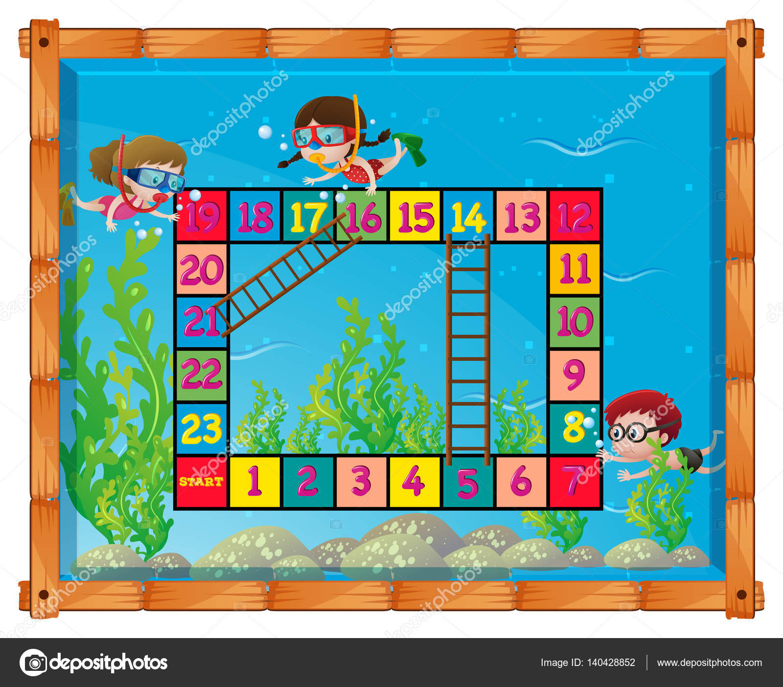 game template with kids under the sea stock vector brgfx 140428852