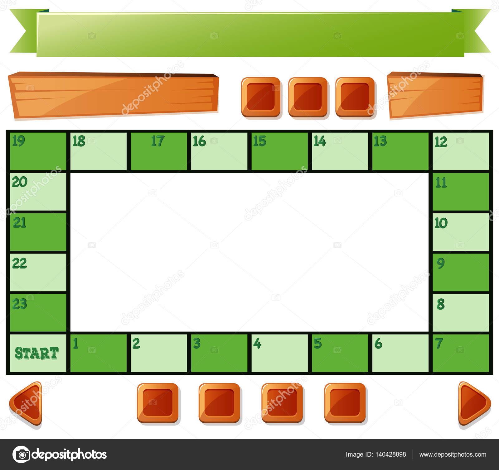 Brettspiel Vorlage und Tasten — Stockvektor © brgfx #140428898