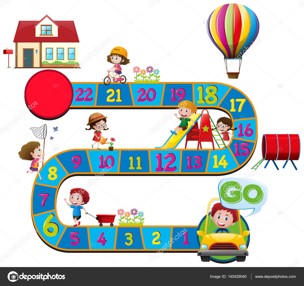 Brettspiel Vorlage mit Kindern in verschiedenen Aktionen ...