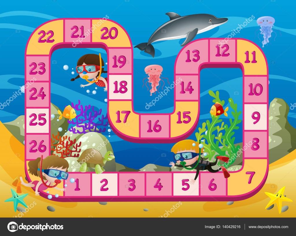 Brettspiel Vorlage mit Kindern schwimmen unter Wasser ...