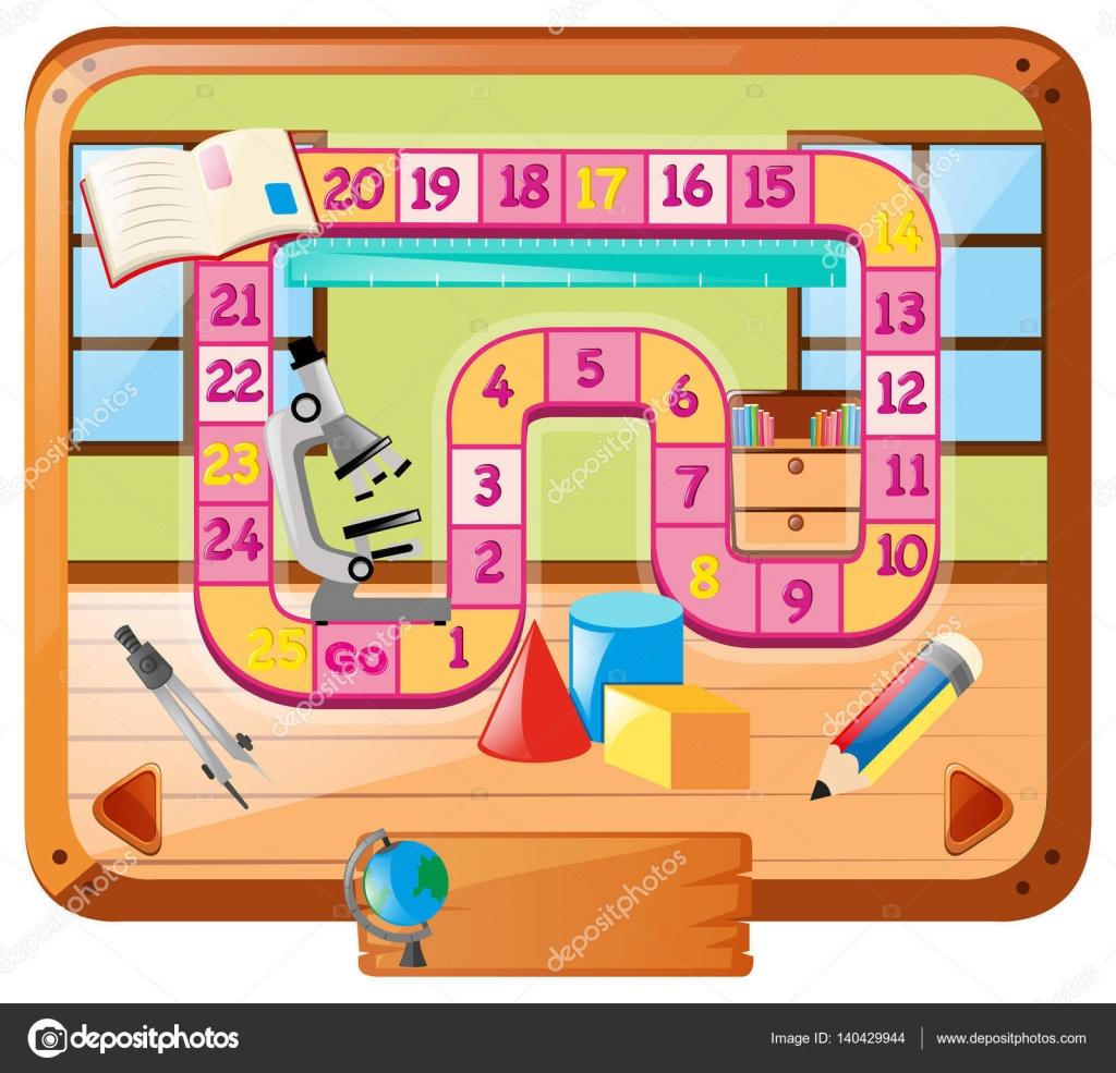 Brettspiel Vorlage mit Schulzeug — Stockvektor © brgfx #140429944