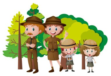 People in safari outfit in the forest illustration stock vector