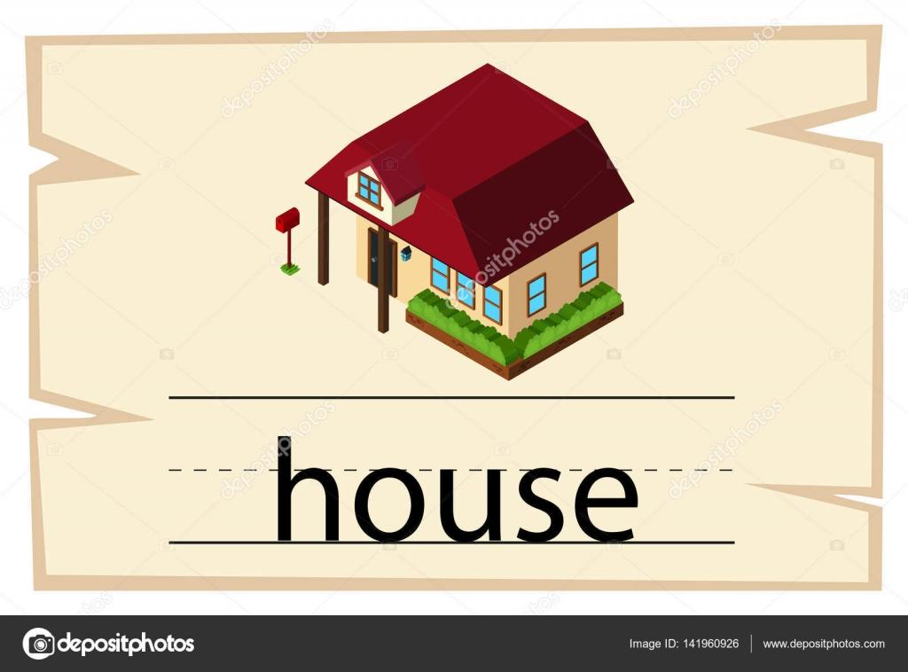 単語の家 wordcard テンプレート ストックベクター brgfx 141960926