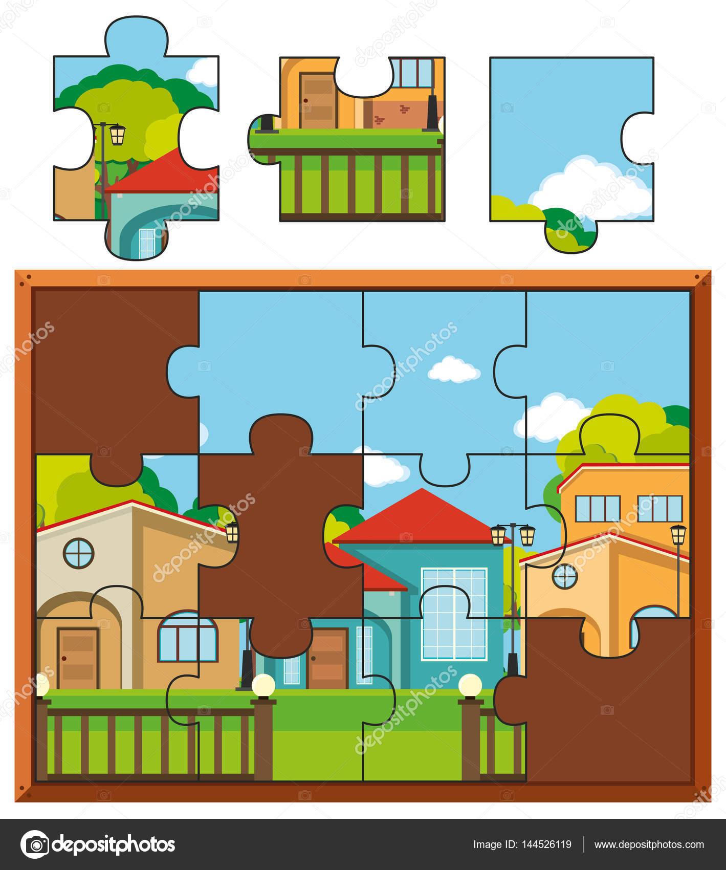 Rompecabezas piezas de pueblo con muchas casas — Vector de stock ...