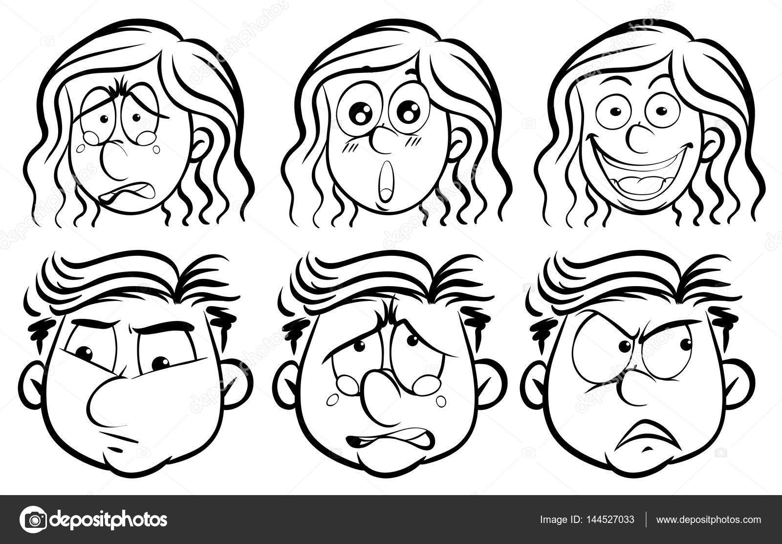 Caras Expresando Emociones Para Colorear Seis Diferentes Emociones