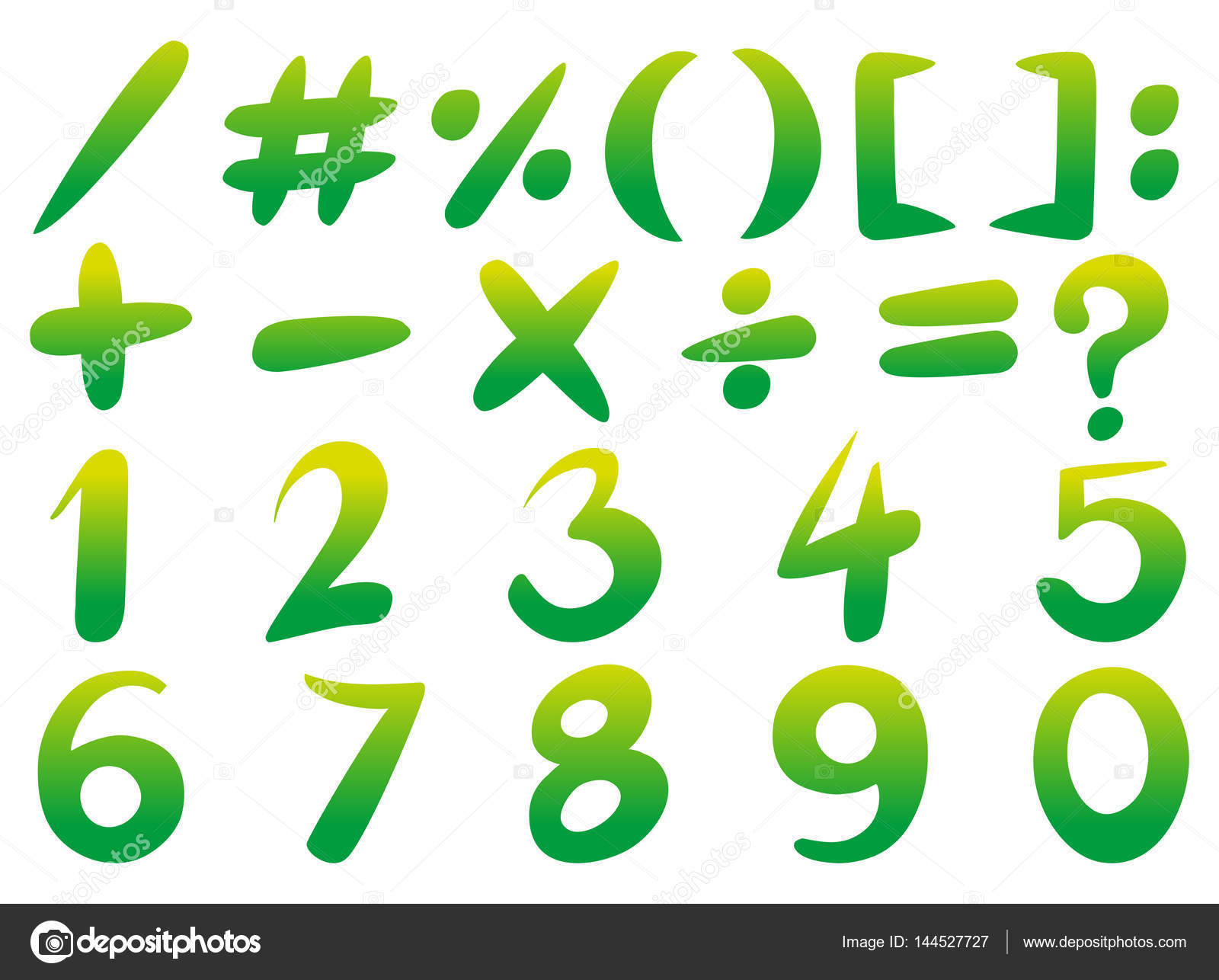 Numbers and signs in green color — Stock Vector © brgfx #144527727