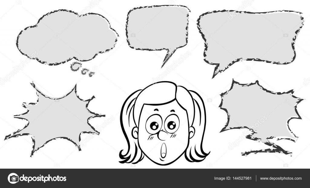Chica con cinco plantillas de burbujas de discurso — Archivo ...