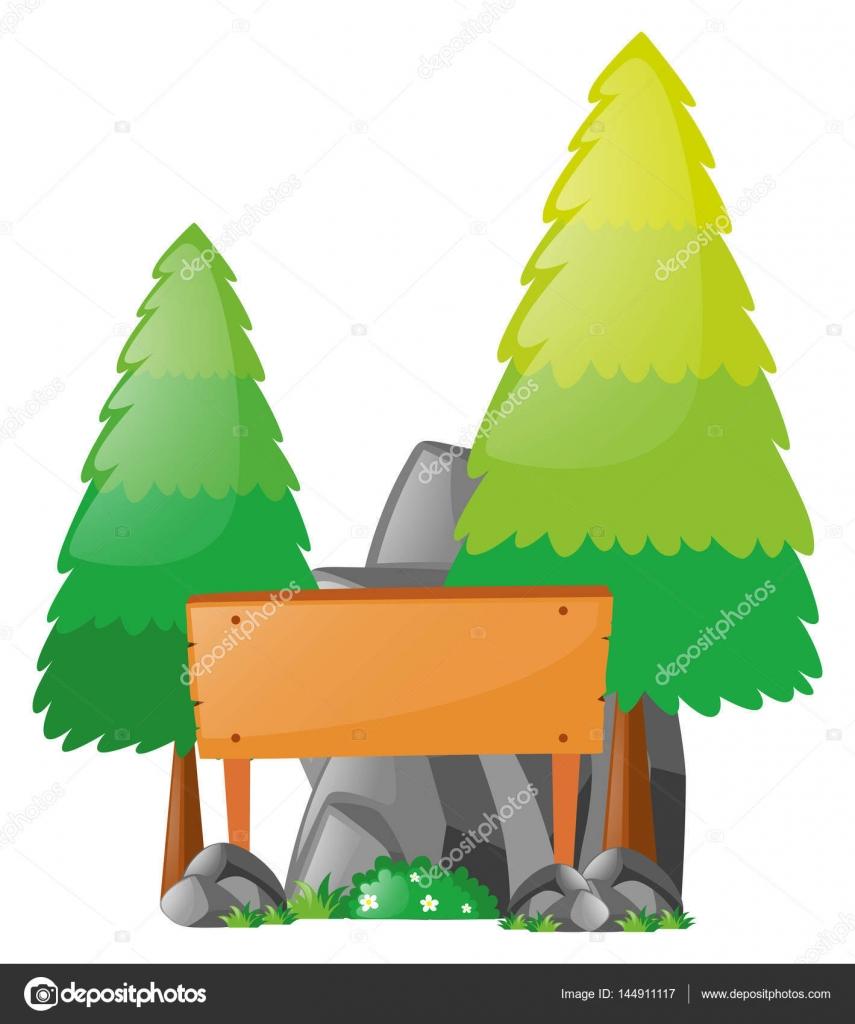 Plantilla cartel de madera entre árboles de pino — Archivo Imágenes ...