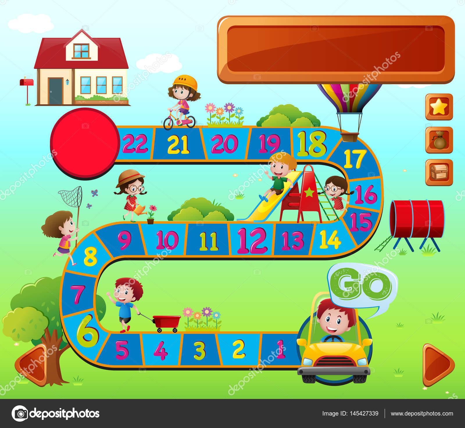 Brettspiel Vorlage Mit Spielenden Kindern Stockvektor Brgfx