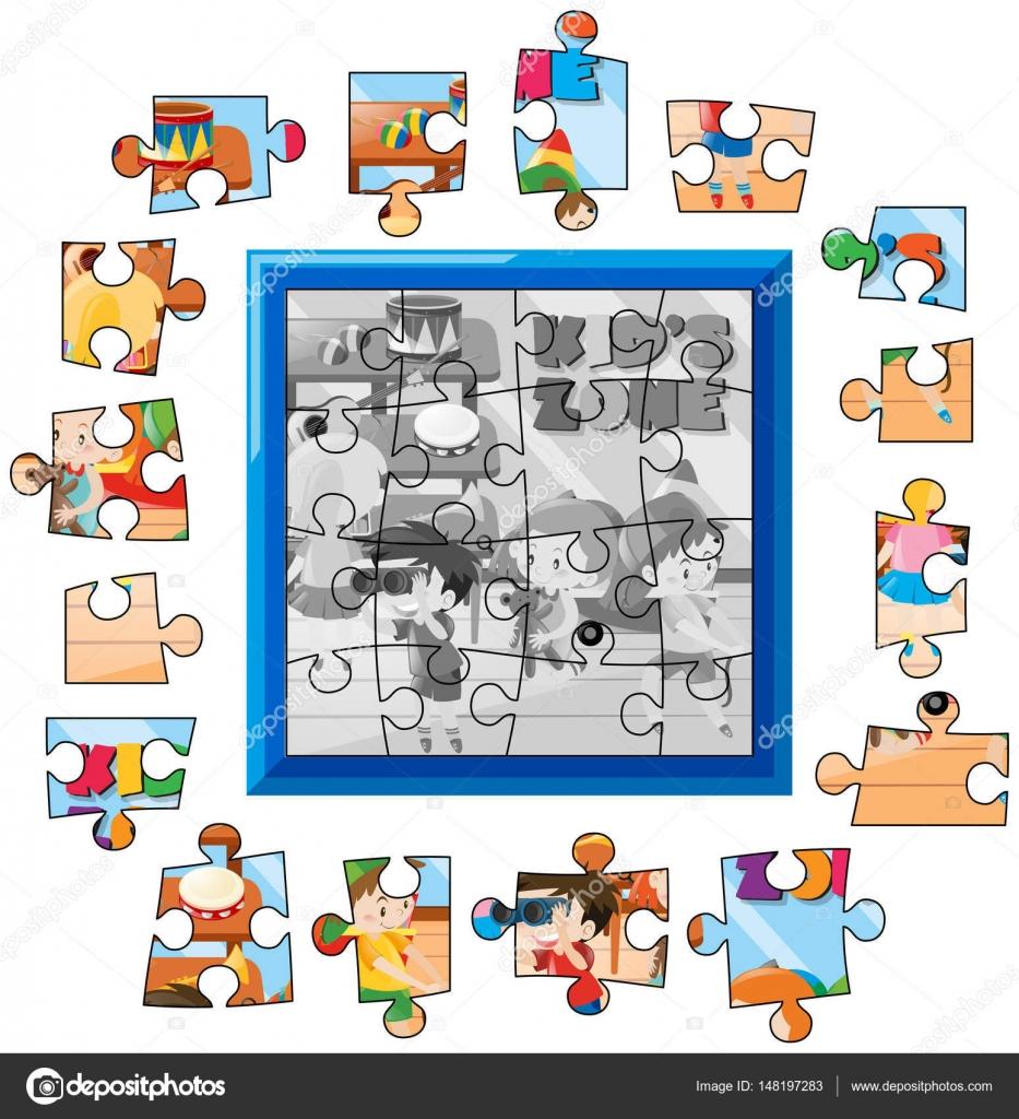 Niños plantilla juego Jigsaw puzzle — Vector de stock © brgfx #148197283