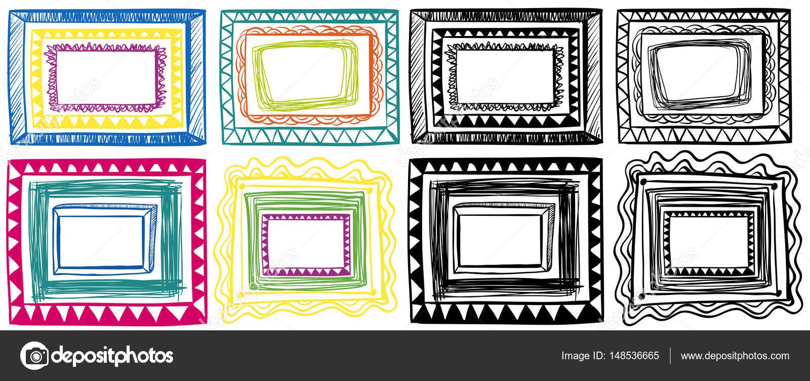 Different doodles of frame designs — Stock Vector © brgfx #148536665