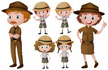 Park rangers in uniform illustration stock vector