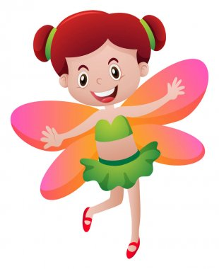Cute fairy with orange wings