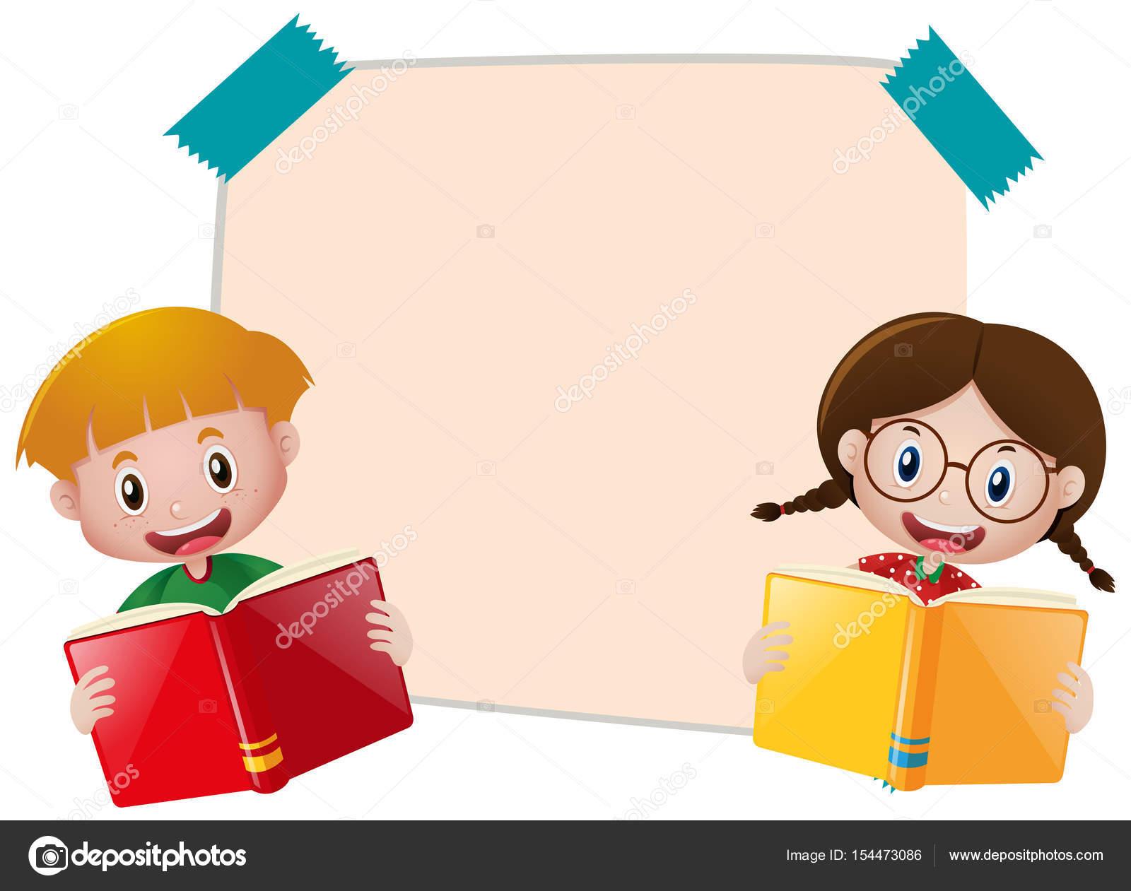 Plantilla de papel con niño y niña lectura libro — Archivo Imágenes ...