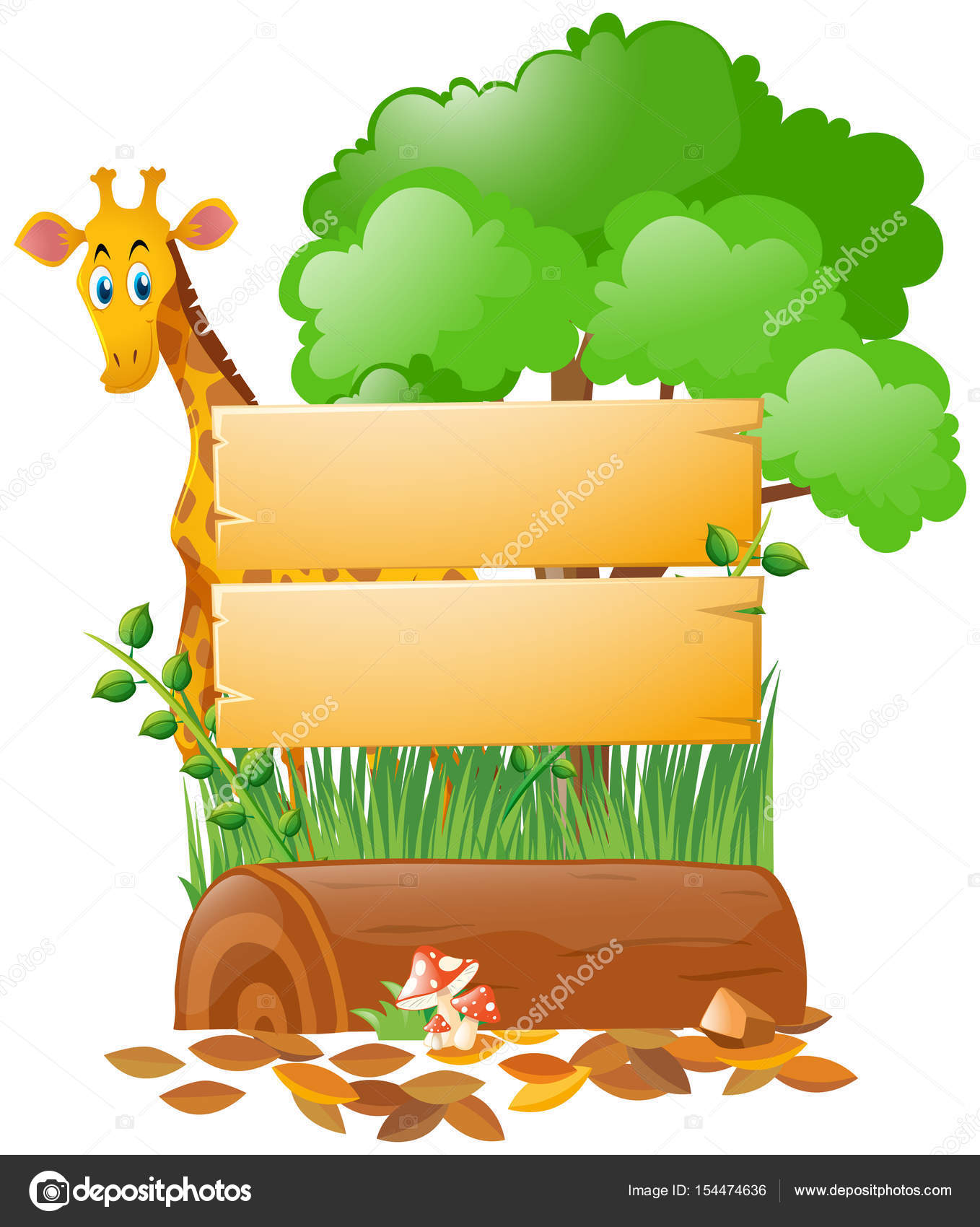 wooden sign template and giraffe in forest stock vector brgfx