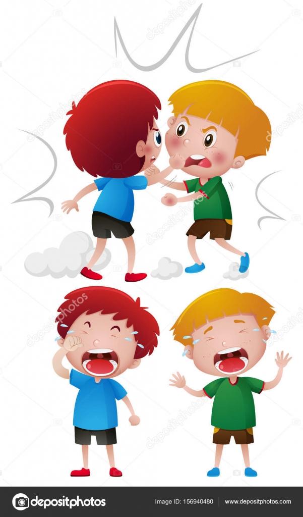 Imágenes 2 Niños Peleando Dos Niños Peleando Y Llorando Vector