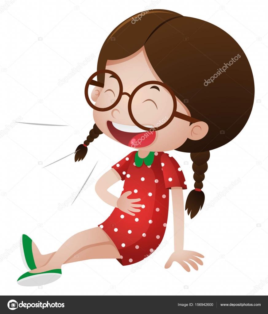 Little girl in red dress laughing — Stock Vector © brgfx