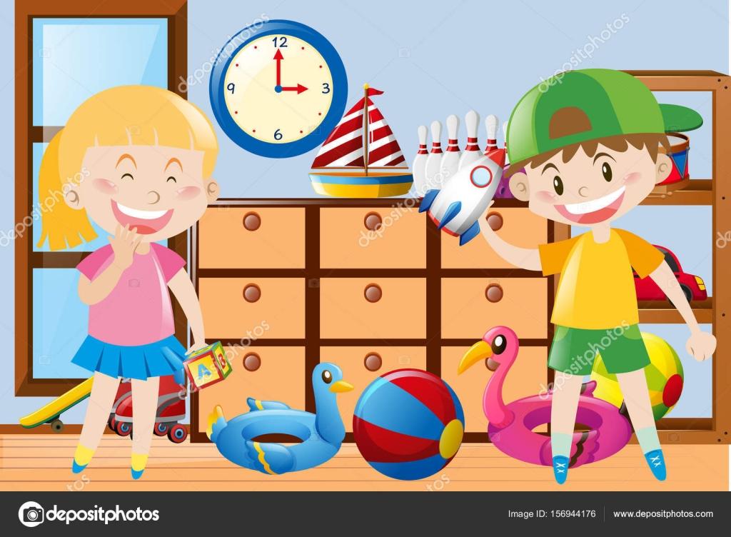 Jongen en meisje spelen speelgoed op de kamer u stockvector