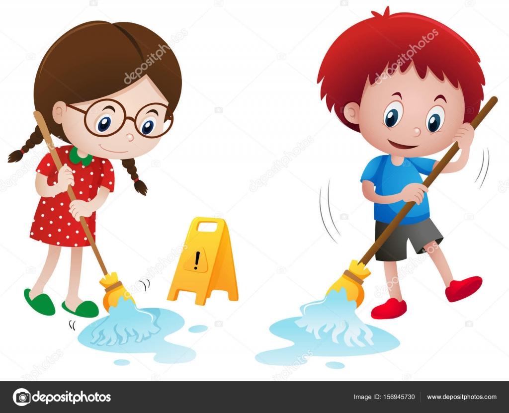 Niño Y Niña Trapeando El