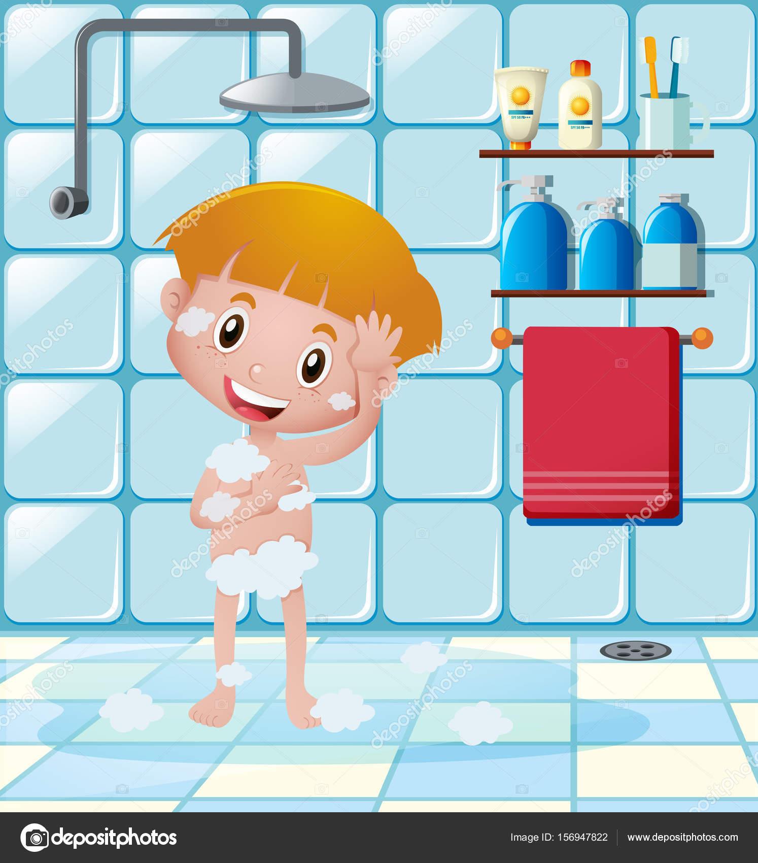 Ducha de ni o tomar en ba o vector de stock brgfx - Hacer una mampara de ducha ...