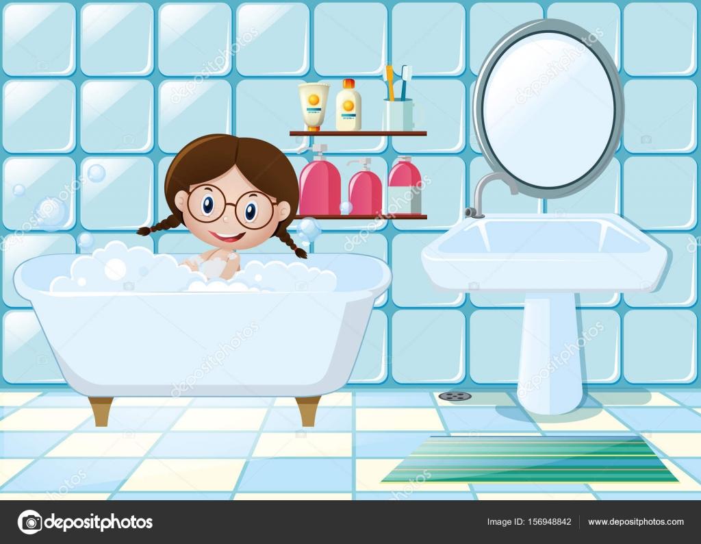 Little girl taking bath in bathroom — Stock Vector © brgfx #156948842