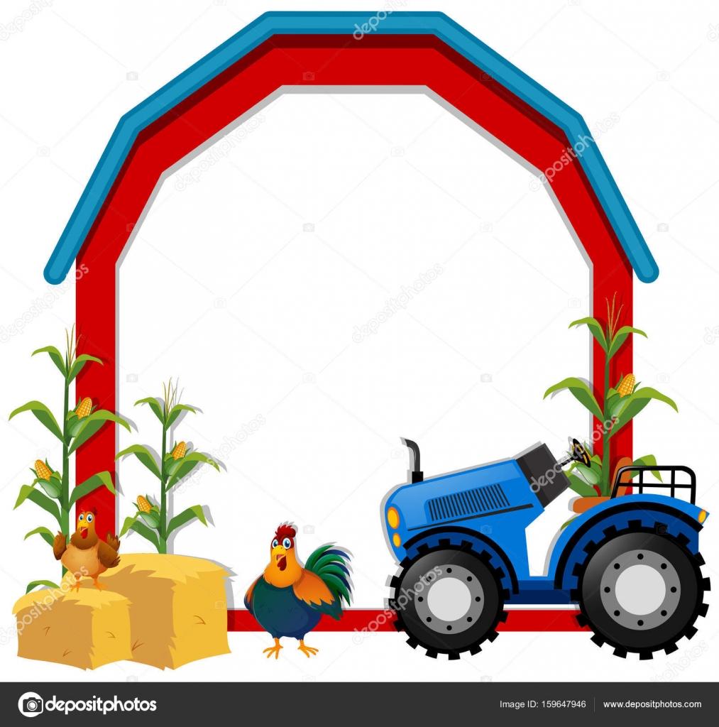 Grenze-Vorlage mit Hühnern und Traktor — Stockvektor © brgfx ...