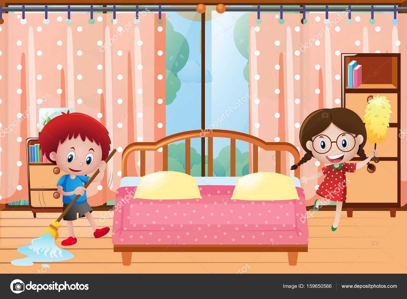 Twee kinderen, schoonmaken van de slaapkamer — Stockvector © brgfx ...