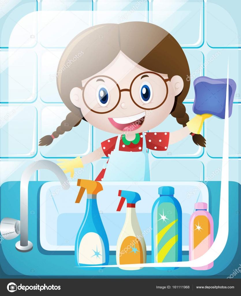 Nettoyage vier de salle de bain fille image vectorielle brgfx 161111968 - Nettoyage de salle de bain ...