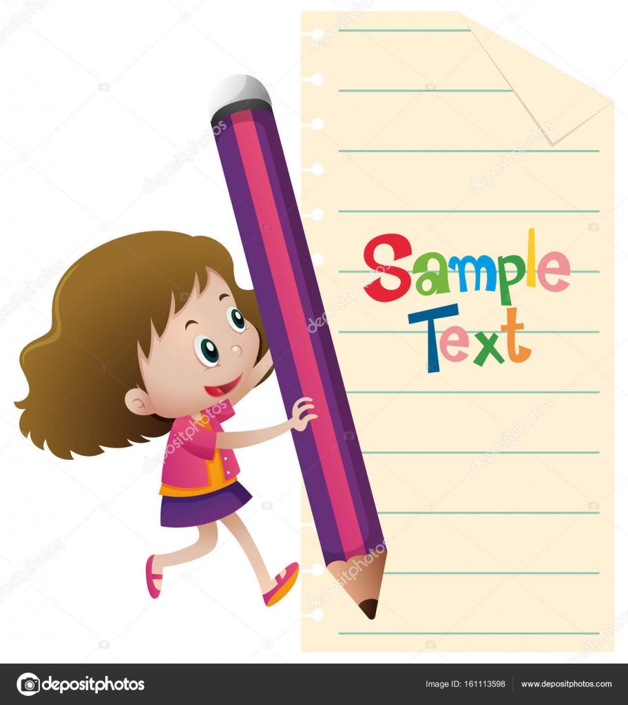 Plantilla de papel con chica escribir — Vector de stock © brgfx ...