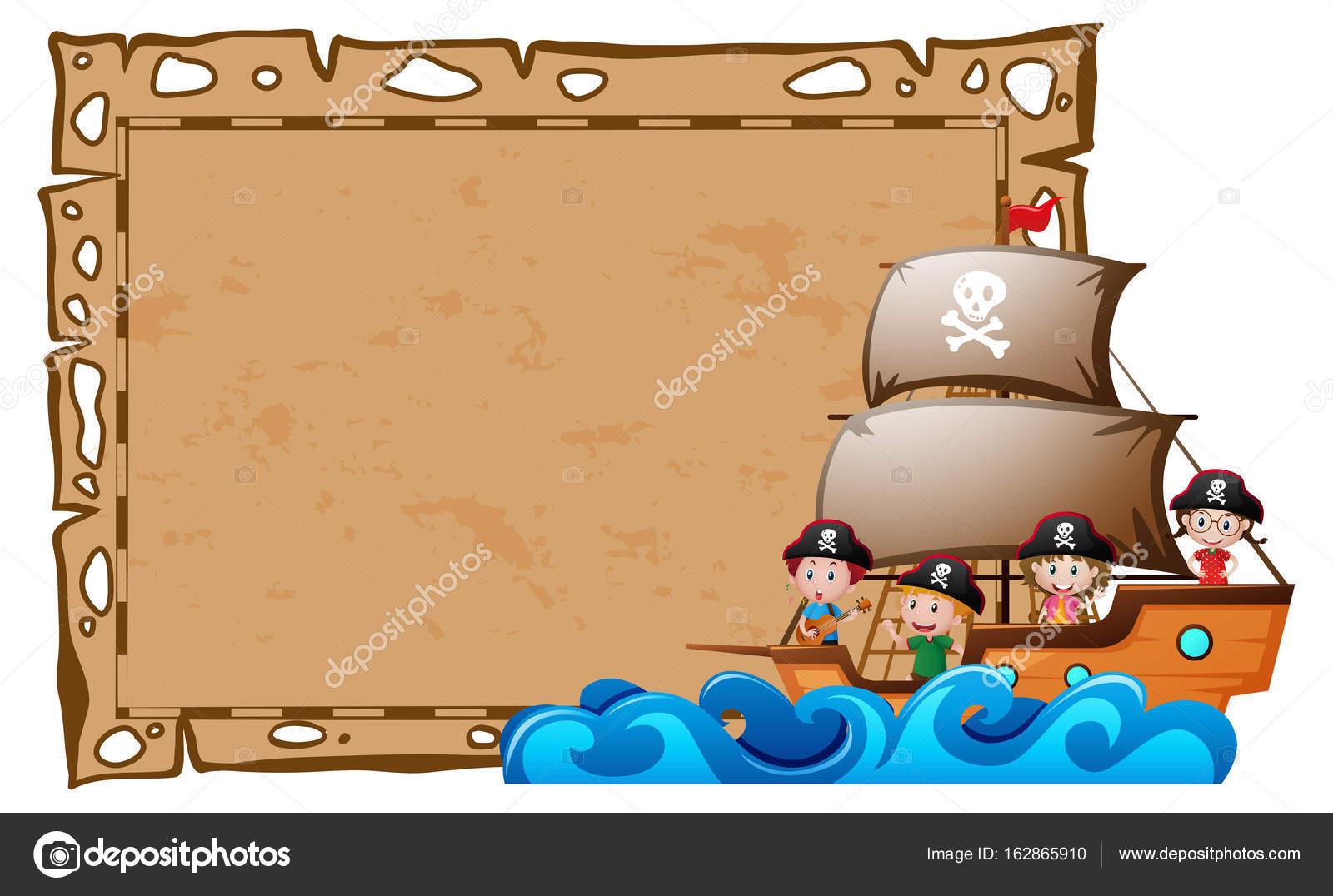 Plantilla de la frontera con niños como piratas — Archivo Imágenes ...