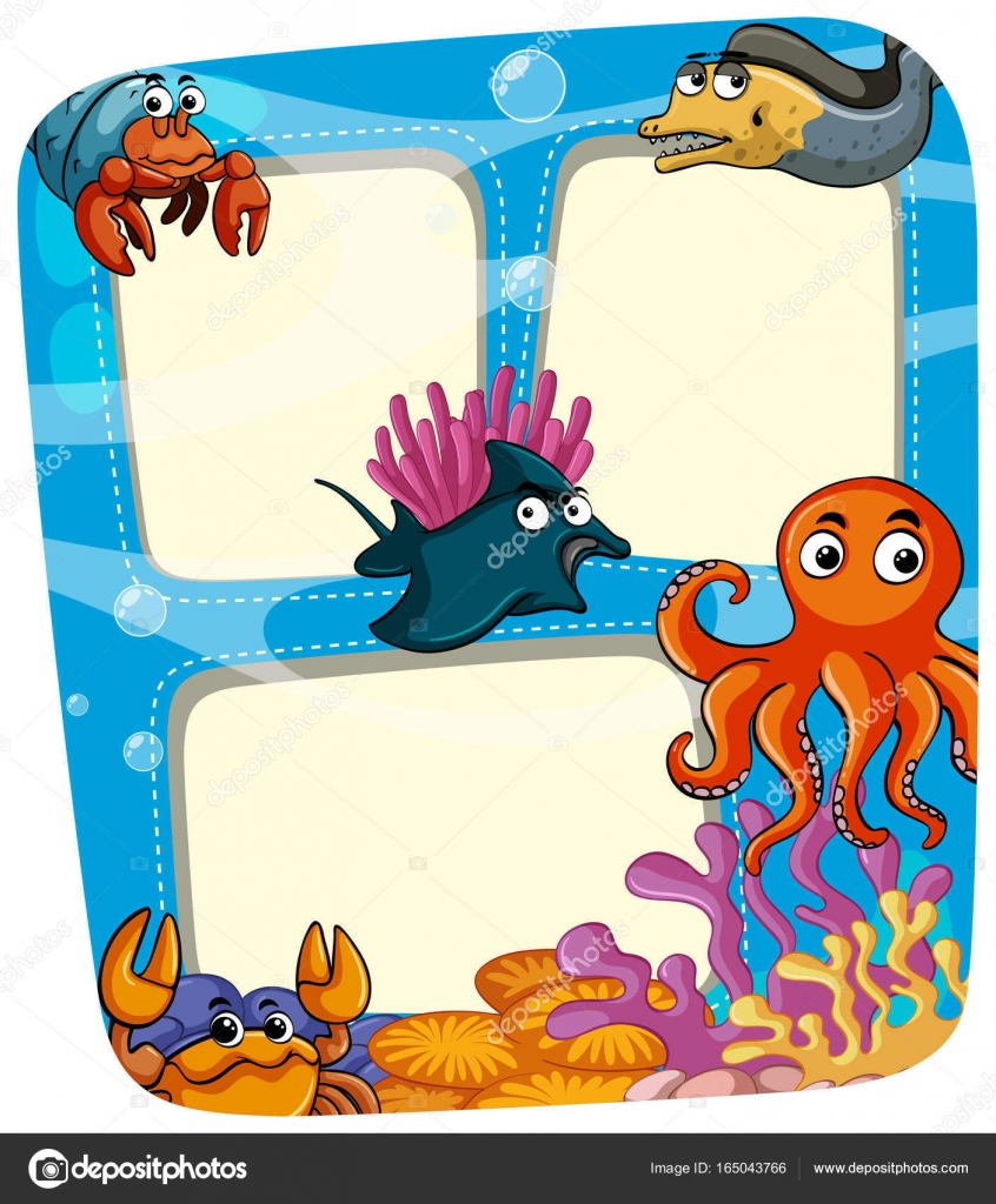 Grenze-Vorlage mit Tieren unter dem Meer — Stockvektor © brgfx ...