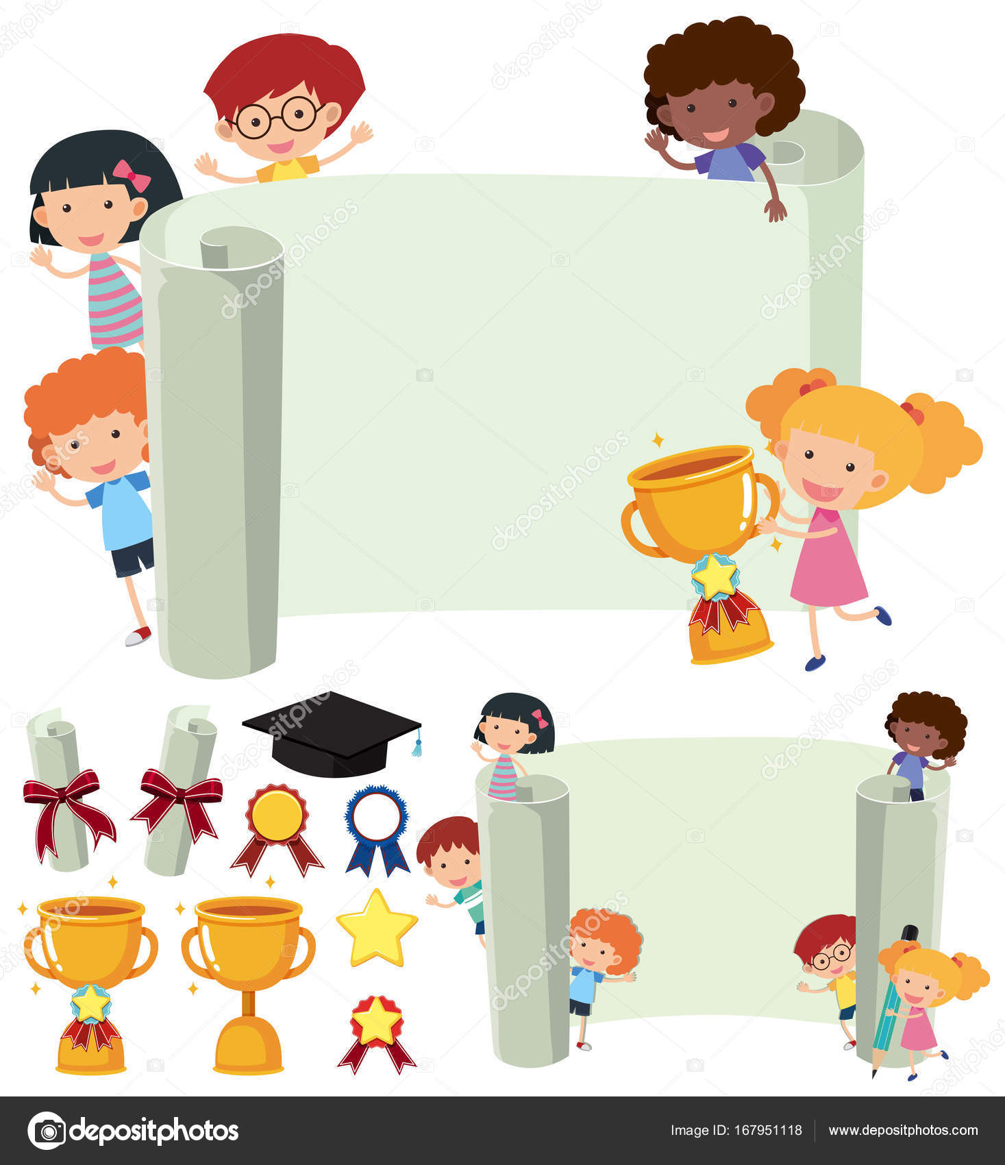 Paper Template With Happy Kids And Trophy Stock Vector