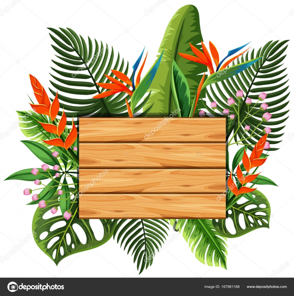 Wooden Board With Leaves And Flowers In Background Stock Vector
