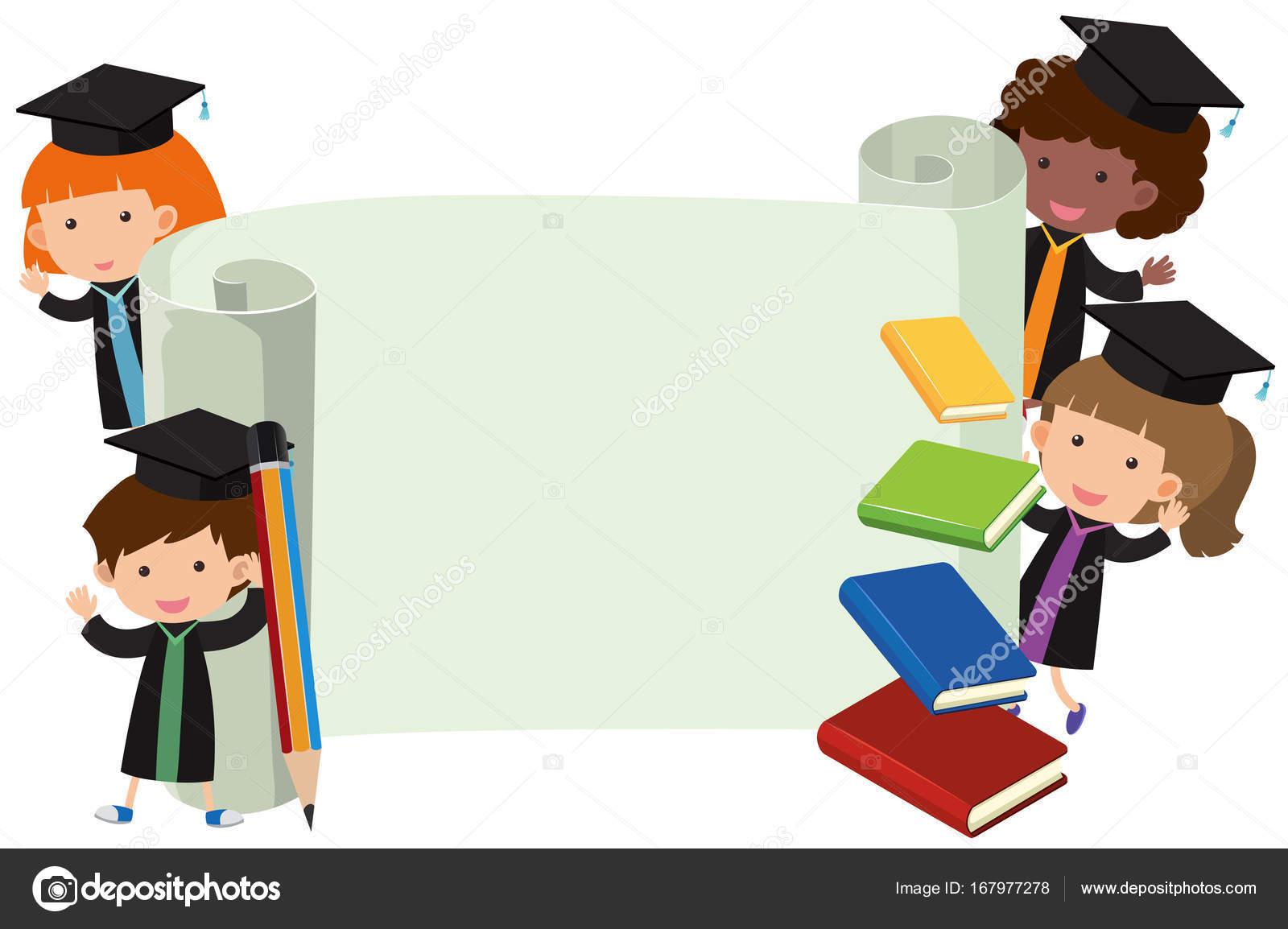 Niños en el vestido de la graduación y rollo de papel — Archivo ...