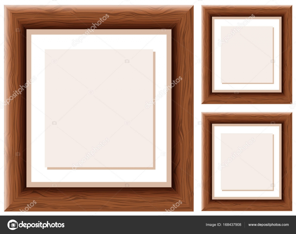 Tres marcos de madera con el papel marrón dentro de — Vector de ...