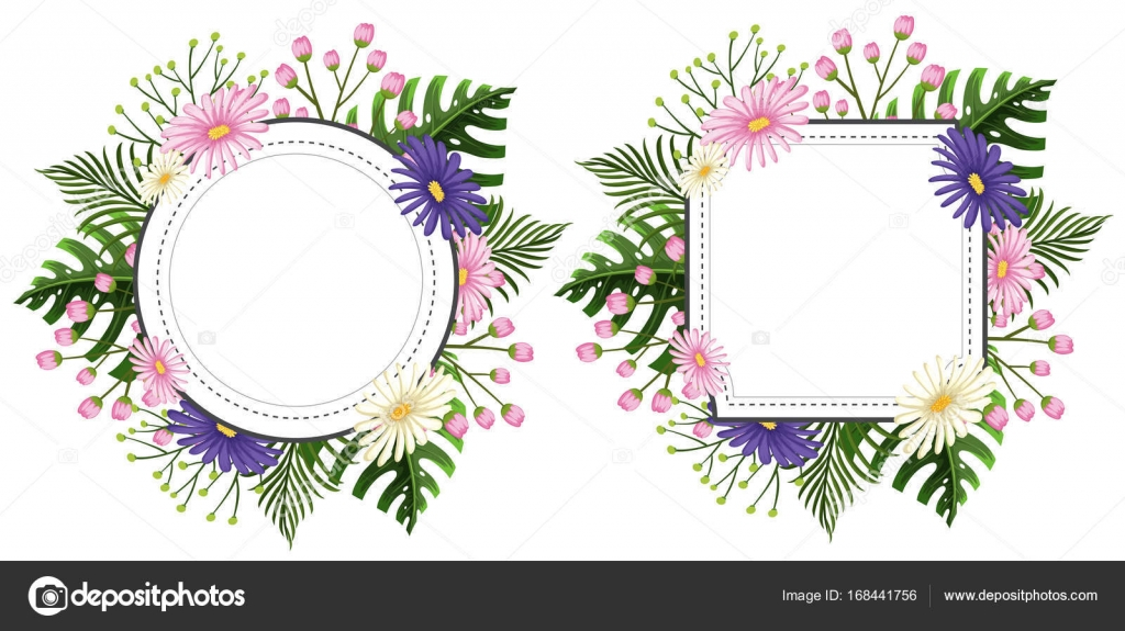 Two flower frames with pink and purple flowers — Stock Vector