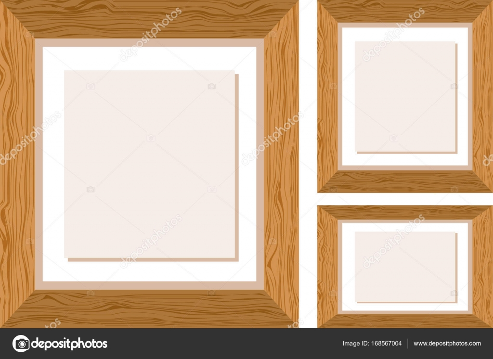 Tres marcos de madera en diferentes tamaños — Vector de stock ...