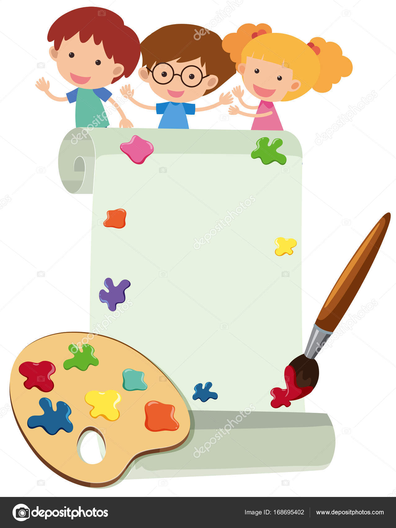 border template with happy kids and paintbrush stock vector