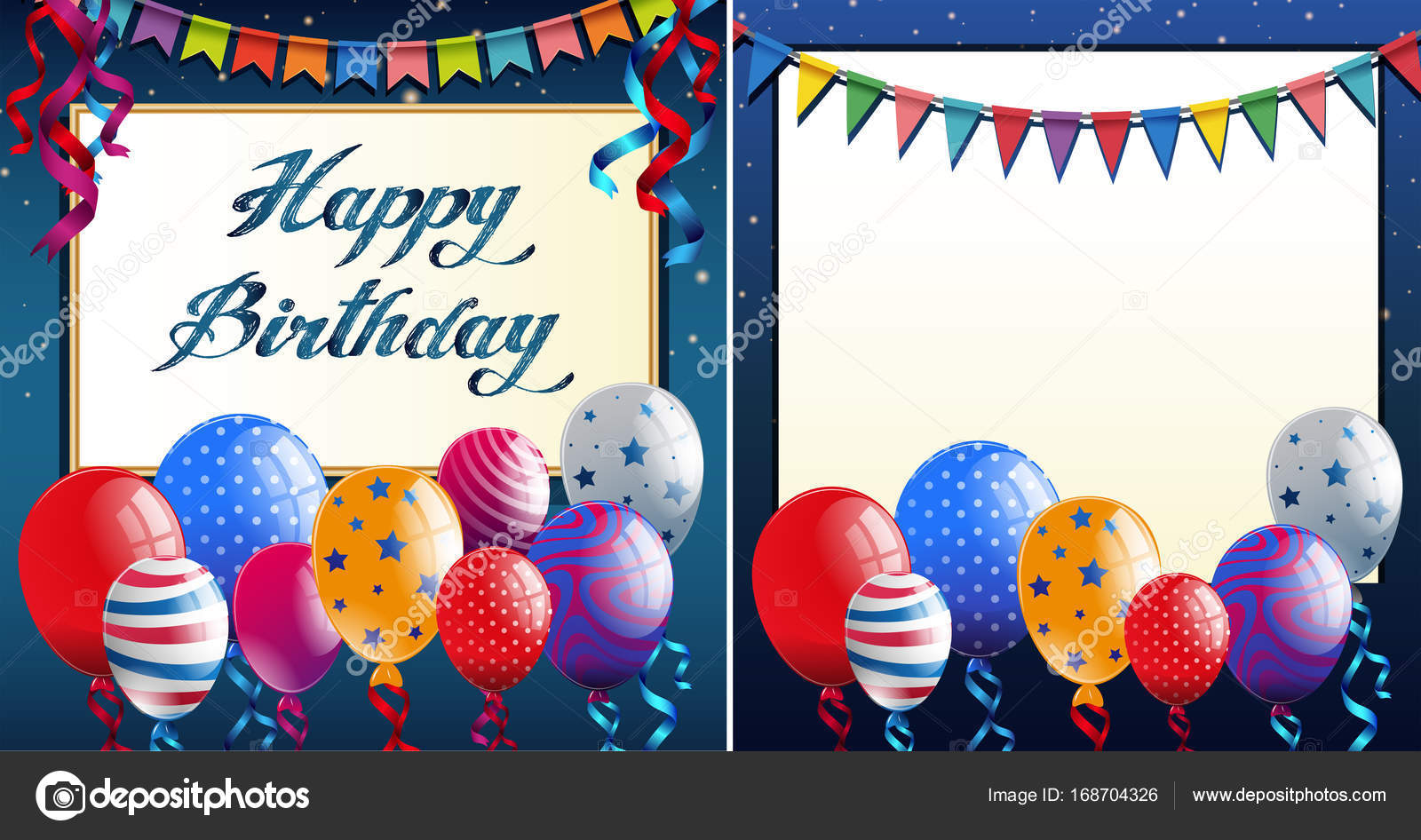 Happy Birthday Card Template With Blue Border And Colorful Ballo