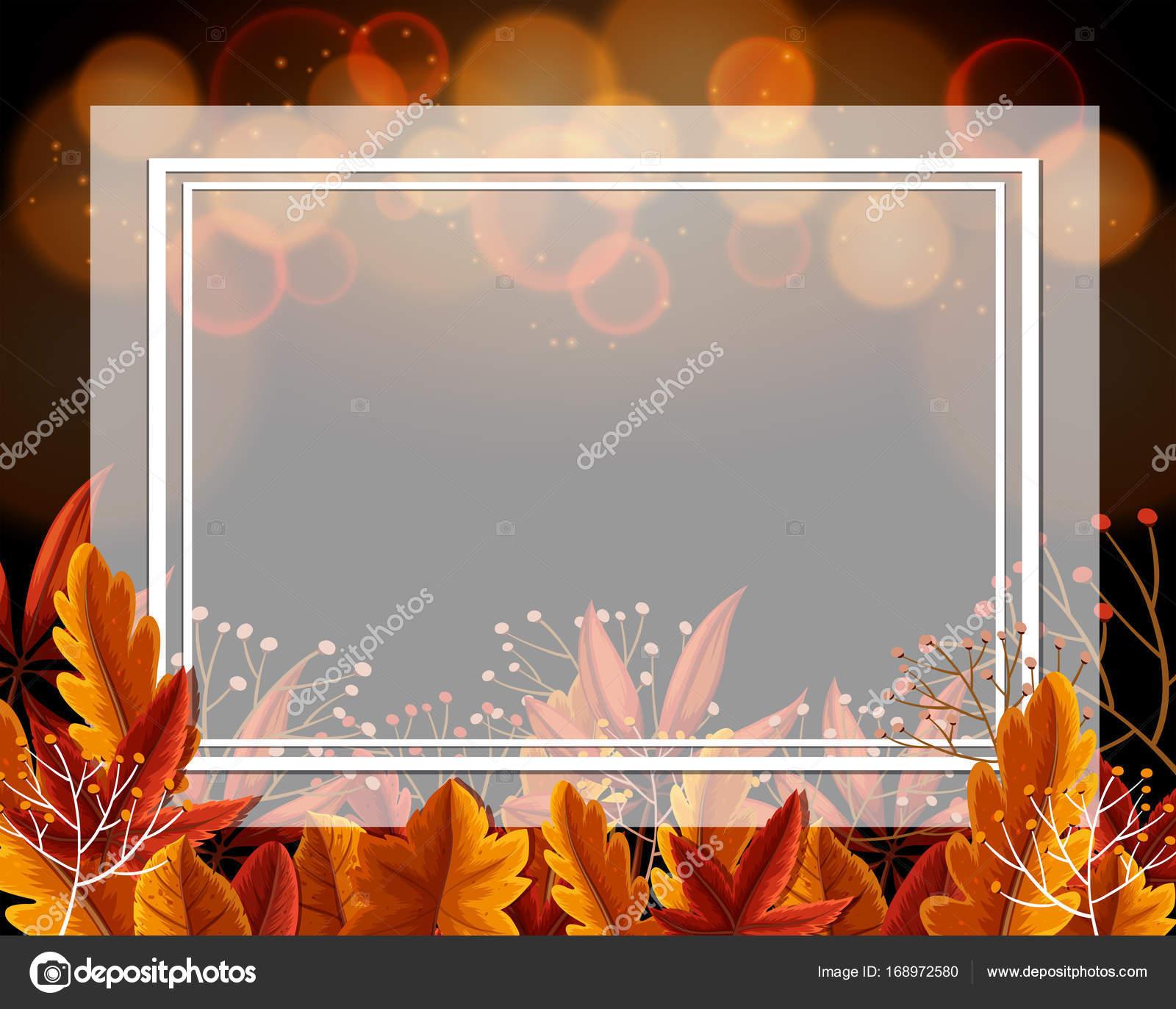 Grenze-Vorlage mit orange Blätter und Licht im Hintergrund ...