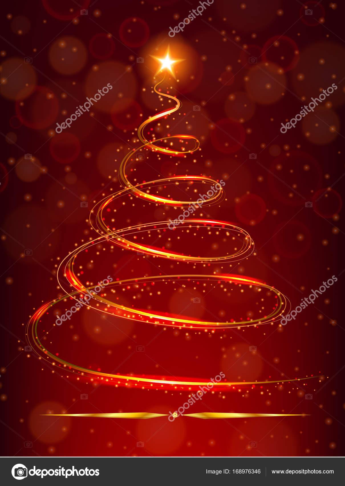 Stella Luminosa Di Natale.Albero Di Natale Con La Stella Luminosa Su Priorita Bassa Rossa