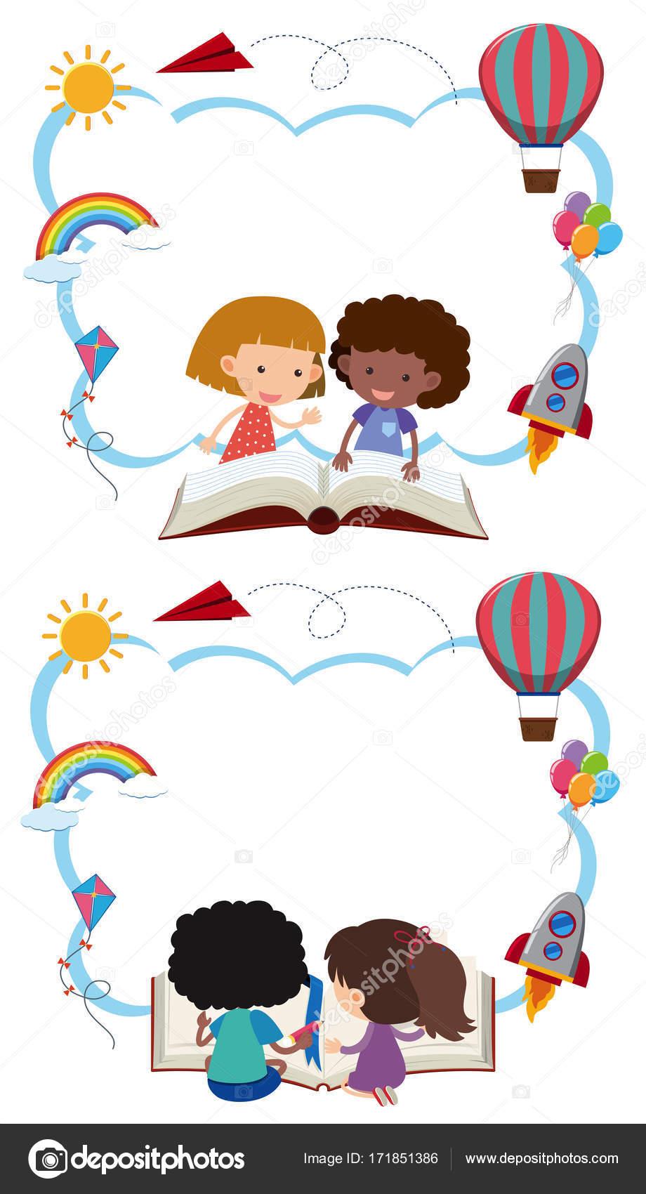 Zwei border Vorlagen mit Kinder Bücher lesen — Stockvektor © brgfx ...