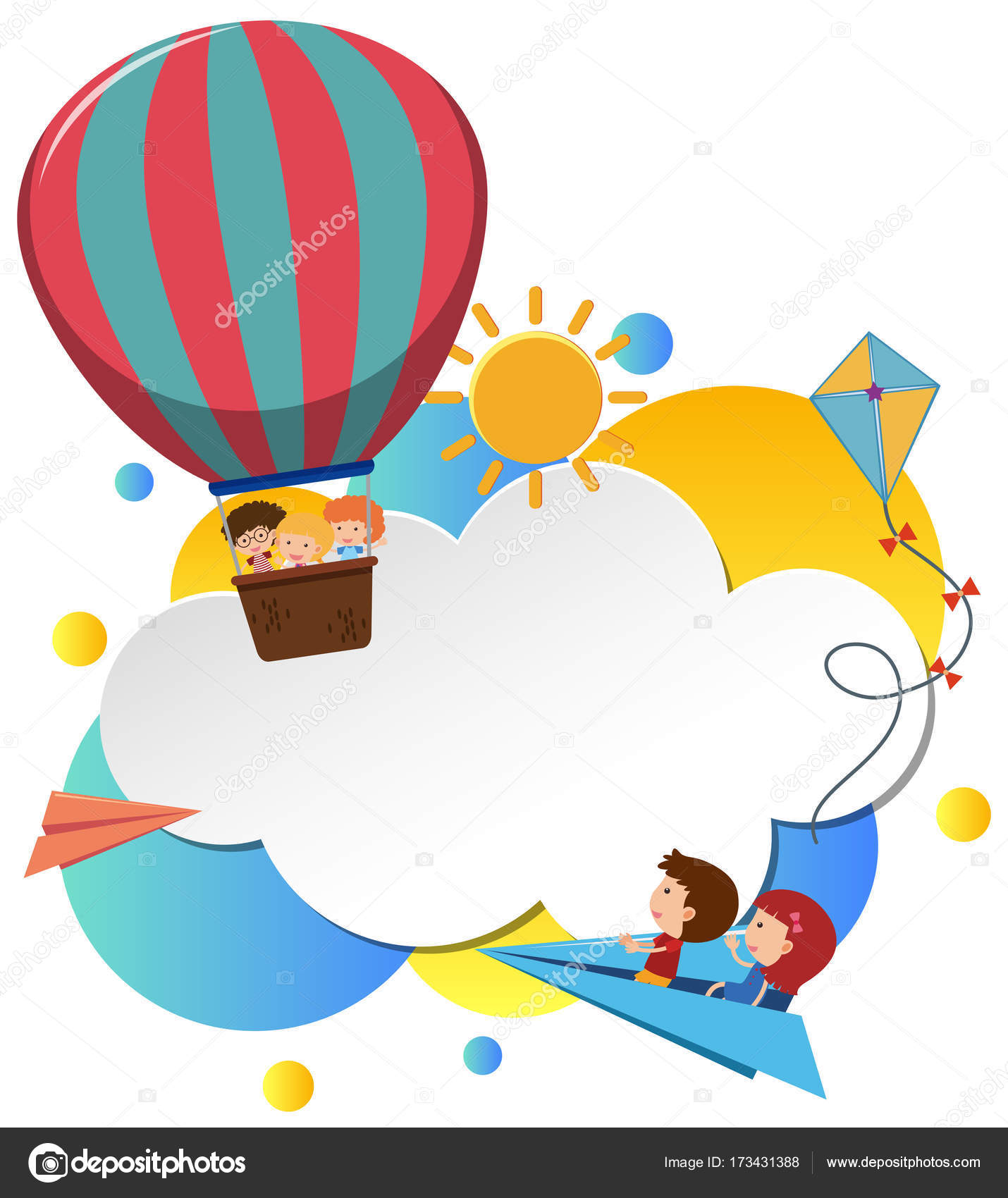 Grenze-Vorlage mit Kindern im Ballon — Stockvektor © brgfx #173431388