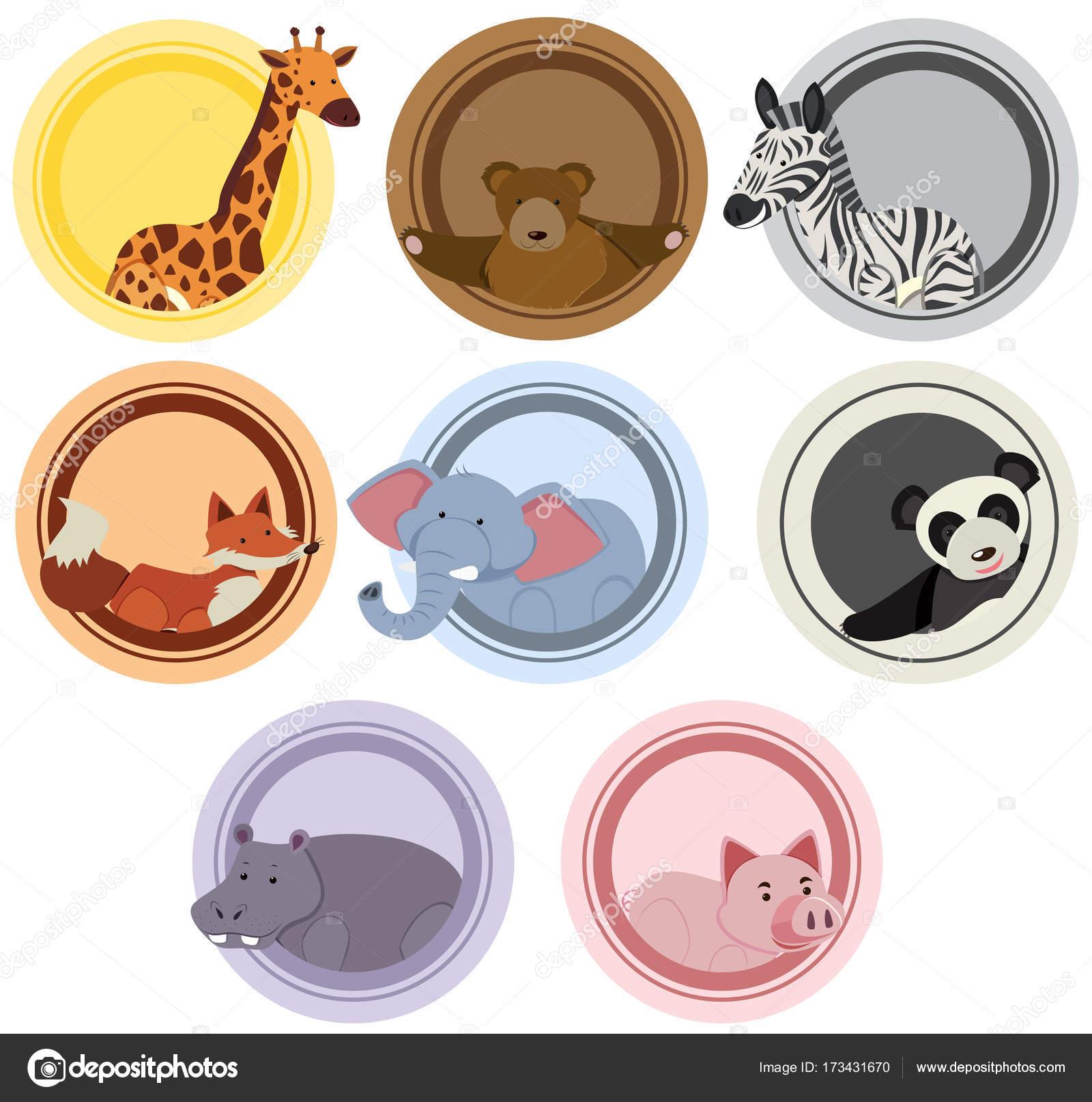 Plantillas de etiqueta con animales salvajes — Archivo Imágenes ...
