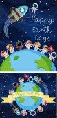 Boldog föld napja plakát gyerekek a térben