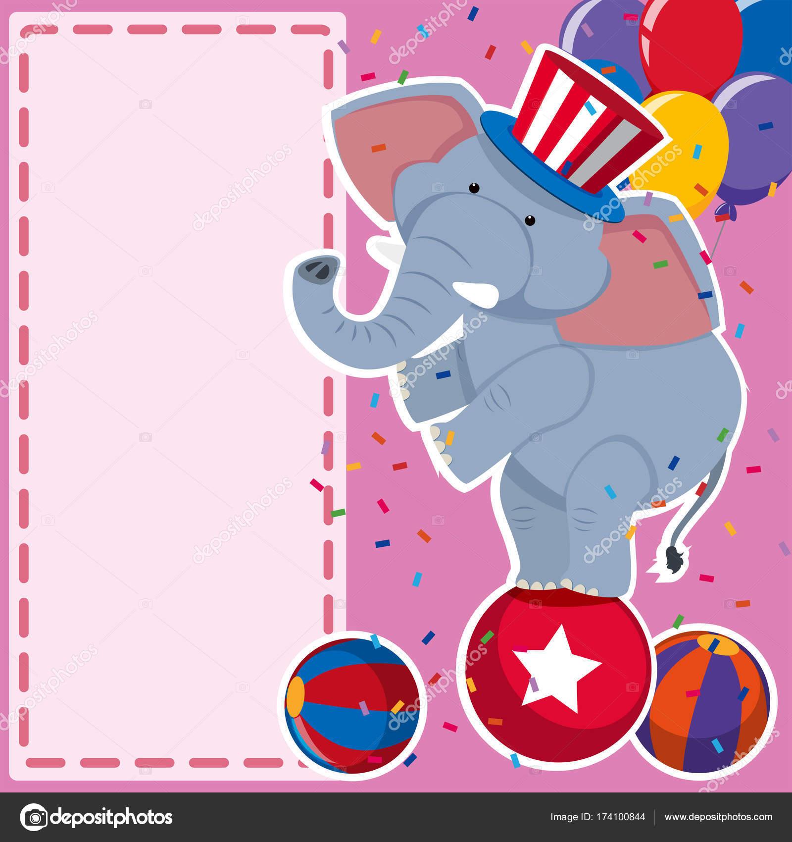 Grenze Vorlage Mit Elefanten Am Ball Stockvektor Brgfx 174100844